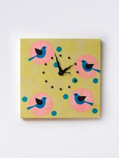 Light Green Wooden 'Painted Birds' Square Clock - 12 x 12 Inches
