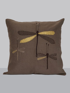 Grey linen embroidered with zari dragon fly pattern cushion cover