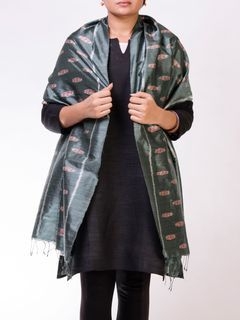 Sea Green Silk Ikat Stole