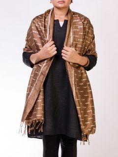 Copper Brown Silk Ikat Stole