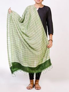 Green Tusser Silk Stole