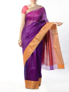 Purple Chanderi Saree with Zari Border