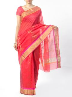 Pink Chanderi Saree with Zari Work
