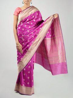 Purple Banarasi Saree with Zari Work