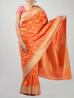 Orange Banarasi Saree with Zari Work