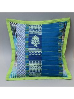 Cotton Patch Work Cushion Cover, Blue Color - 16 x 16 Inch