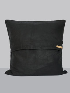 Linen Cushion Cover, Black Color - 16 x 16 Inch