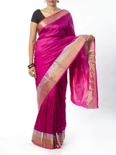 Pink Silk Saree with Zari Border
