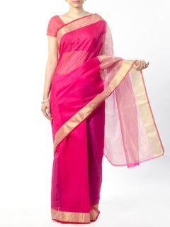Pink Chanderi Saree with Zari Border