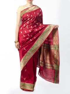 Maroon Banarasi Saree with Zari Work