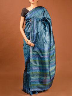 Indigo Tussar Silk Saree
