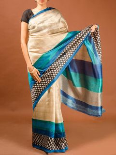 Beige-Blue Tussar Silk Saree