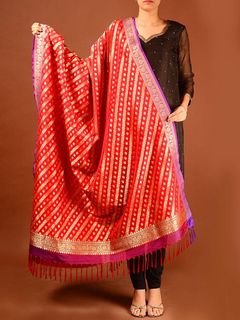 purple bordered red banarasi silk dupatta