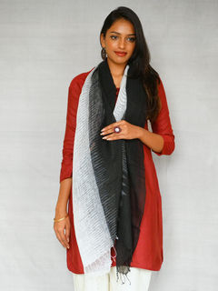 Pure wool stole - Black -grey Color