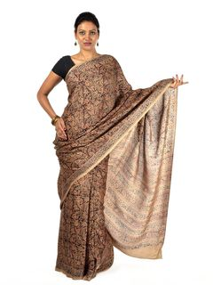 Saddle brown silk Kalamkari saree