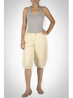 Khaki Linen Knee Length Bottom
