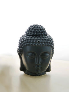 Black Ceramic Buddha Head Fragrance Oil Warmer Lamp