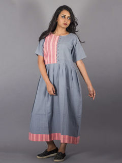 Colorblock Cotton Grey Long Dress