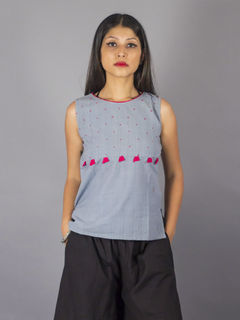 Gulabi Tassel Grey Top