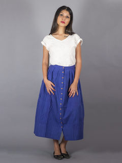 Blue Front cut box pleated Skirt