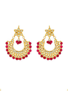 Golden Red Chandbali Earrings