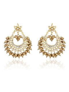 Golden Bead Chandbali Earrings