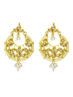 Ethnic Kundan Brass Plated Alloy Chandbali Earrings