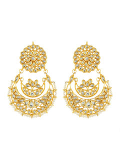 Pearl Kundan Chandbali Earrings