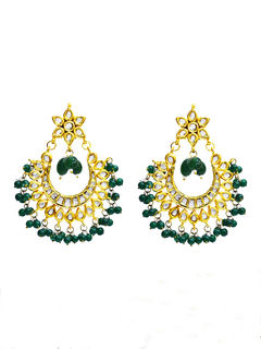 Green Beads Kundan Chandbali Earrings