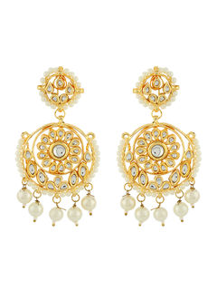 Pearl Hanging Kundan Earrings
