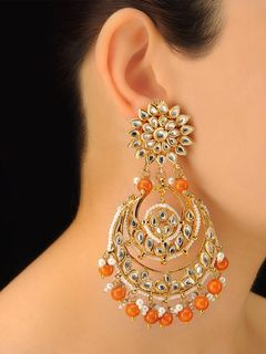 Imli Street Gold & Orange Bead Chandbali Earrings
