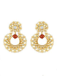 Red bead Kundan Chandbali Earrings