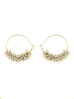 Pearl Bali Hoop Earrings