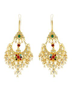 Navratan Kundan Chandbali Earrings