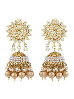 Kundan and Pearl Jhumka Earrings