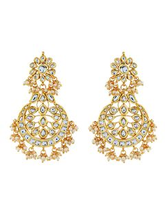 Kundan and Pearl Chandbali earrings