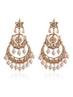 Pearl & Kundan Chandbali earrings