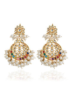 Coloured Kundan and Pearl Dangle Earrings