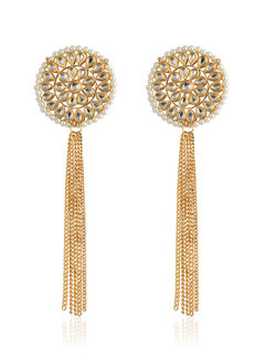 Kundan Stud earrings With Hanging Gold Chains