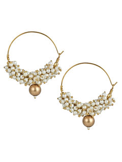 Pearl Bali hoop earrings With Gold Bead
