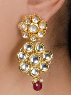 Ruby Drop Kundan Earrings