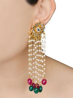 Floral green & pink Jadau long Earrings