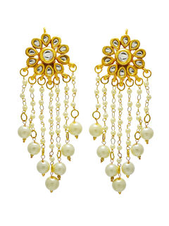 Kundan Stud earrings With Hanging Pearls