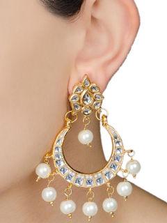 Ivory Half-Moon Jadau Golden Earrings