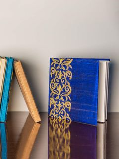 Royal Blue Embroidered Raw Silk Diary