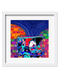 Colorful Taxi Art Print - 18X18 Inches
