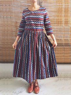 Classic Indigo Print Midi Dress