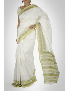 White and Green Chanderi Saree