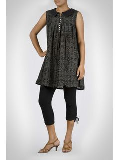 Black Ikat Cotton Silk Tunic