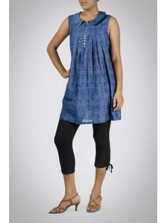 Indigo Ikat Cotton Silk Tunic